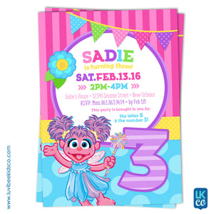 Sesame Street Abby Cadabby Birthday Invitation | Purple & Pink Floral