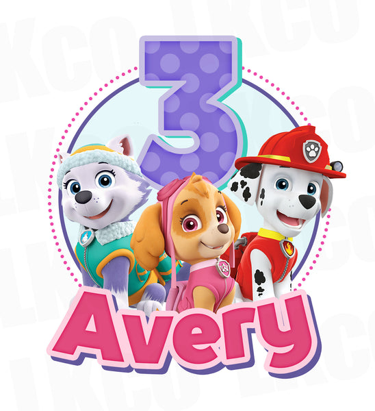 Paw Patrol Iron On Transfer | Pink Skye & Friends - LuvibeeKidsCo