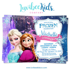 Frozen Birthday Invitation | Frozen Elsa, Anna, and Olaf Birthday Party Printables - LuvibeeKidsCo