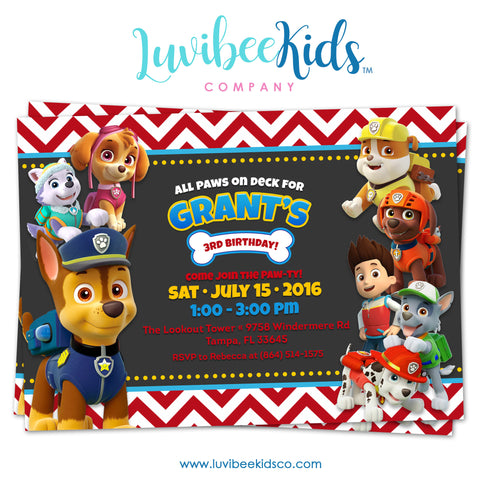 Paw Patrol Birthday Invitation - Boy Style - Red Chevrons - LuvibeeKidsCo