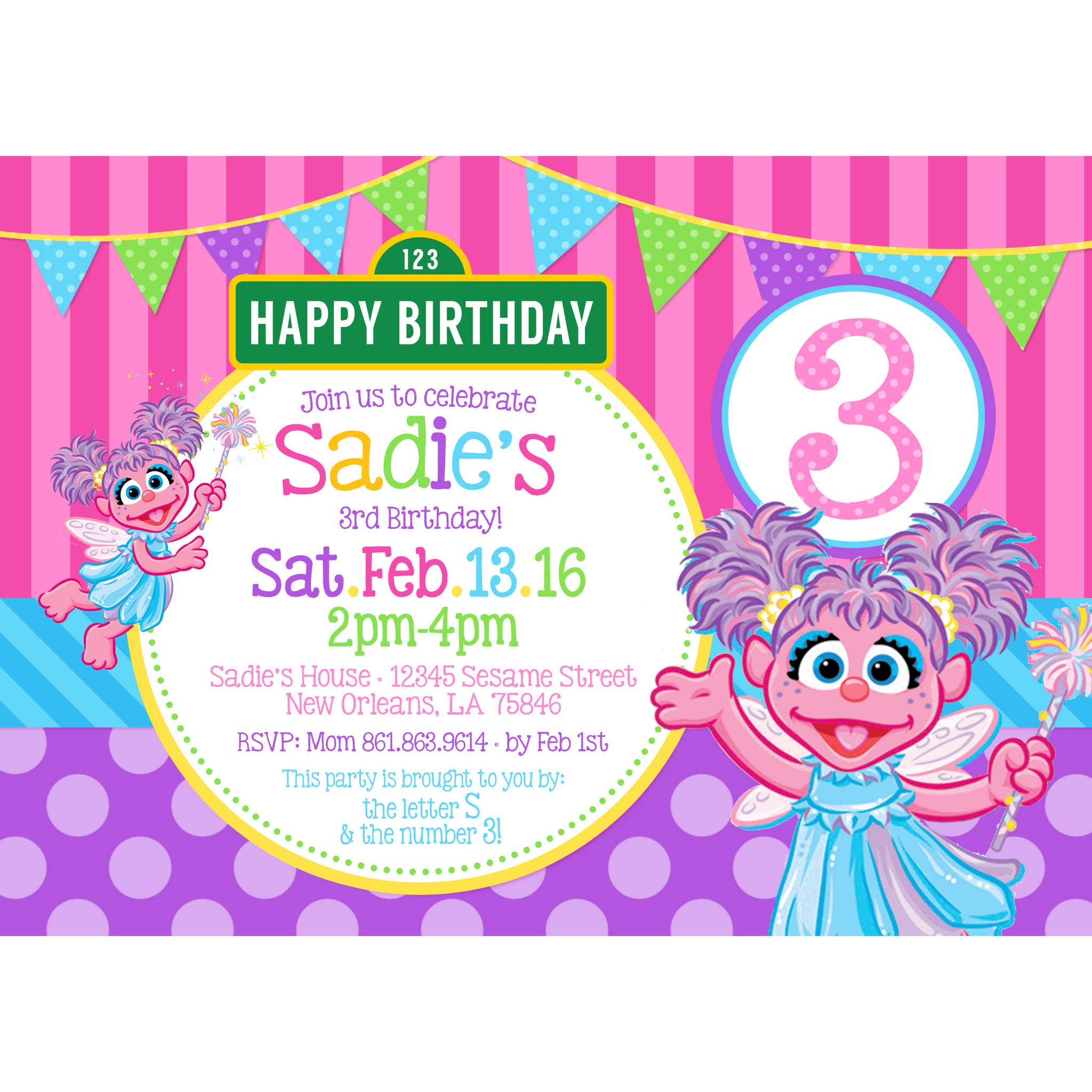 Sesame Street Abby Cadabby Birthday Invitation Purple Pink