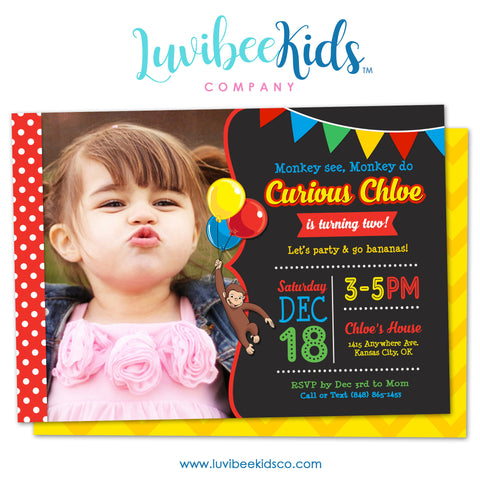 Curious George Invitation with Photo & Chevron Backside