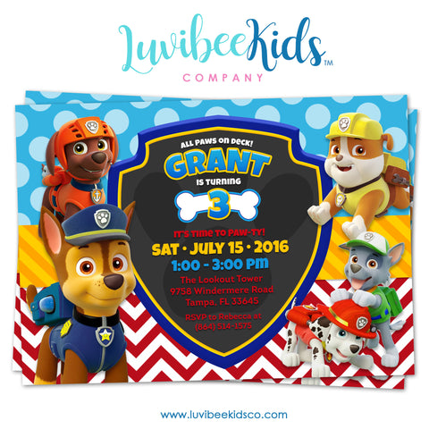 Paw Patrol Birthday Invitation - Boy Pups Only Style