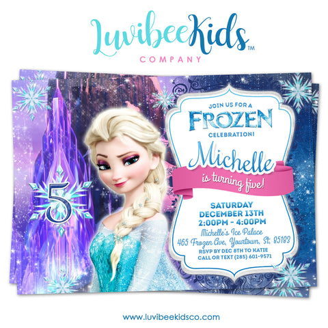 Frozen Birthday Invitation | Frozen Elsa Birthday Party Printables - LuvibeeKidsCo