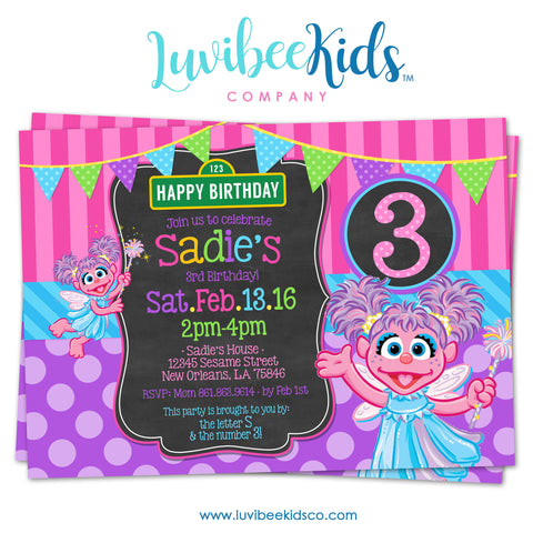 Sesame Street Abby Cadabby Birthday Invitation | Purple & Pink Faux Chalkboard