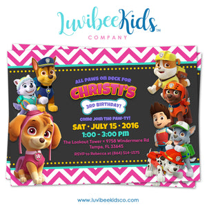 Paw Patrol Birthday Invitation - Girl Style - Pink Chevrons - LuvibeeKidsCo