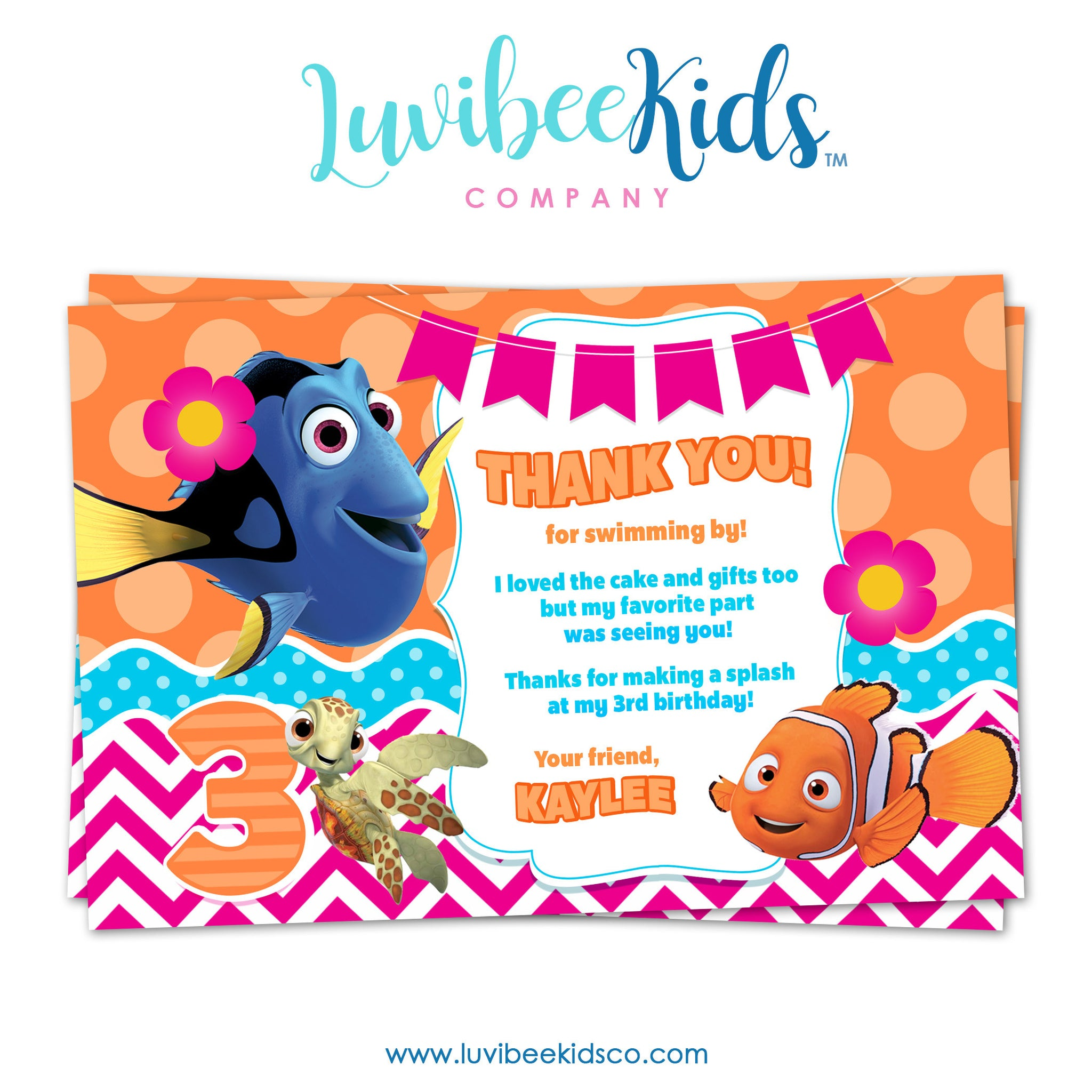 Finding Dory Birthday Thank You Card - Finding Dory Party Printables - Pink & Orange - LuvibeeKidsCo