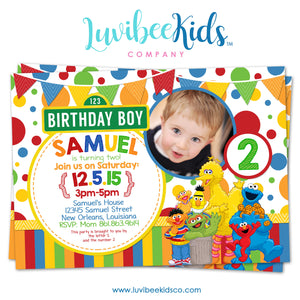 Sesame Street Birthday Invitation with Photo - Primary Colors - Style #02