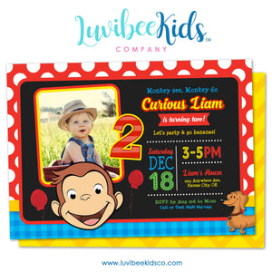 Curious George Invitation with Photo and Backside Image - LuvibeeKidsCo
