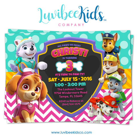 Paw Patrol Birthday Invitation - Girl Style