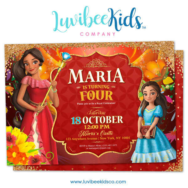 Elena of Avalor Invitation | FREE Thank You Card & Backside - LuvibeeKidsCo