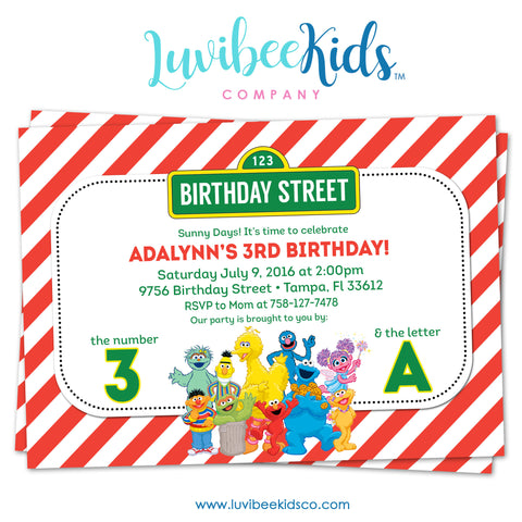Sesame Street Birthday Invitation - Red Stripes