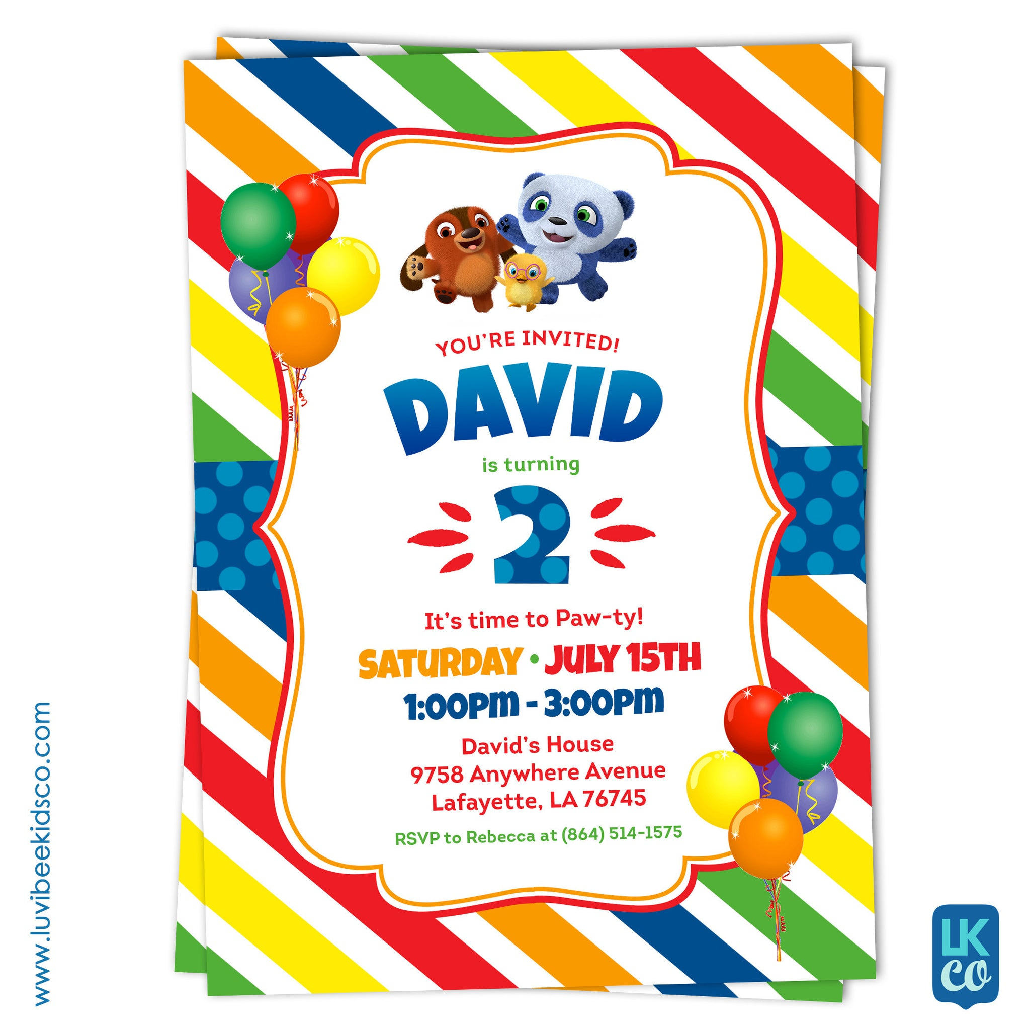 Ruff Ruff Tweet and Dave Invitation | Printable Invitation - LuvibeeKidsCo