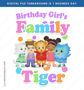 Daniel Tiger Iron On Transfer for Birthday Girl | Rainbow - Add Any Family Member - LuvibeeKidsCo