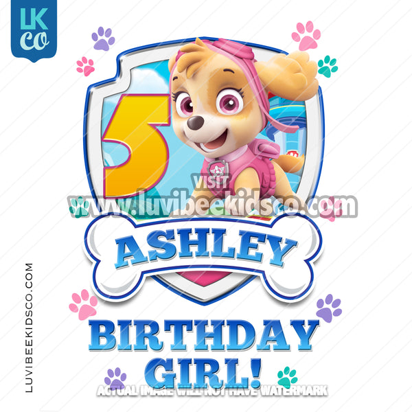 Paw Patrol - Pink - Birthday Girl Skye with Age