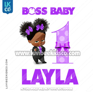 Boss Baby Iron On Transfer | African American Girl | Curly Puffs - with Age - Purple - LuvibeeKidsCo