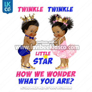 Twinkle Gender Reveal Baby Shower Heat Transfer Design - Afro American Babies