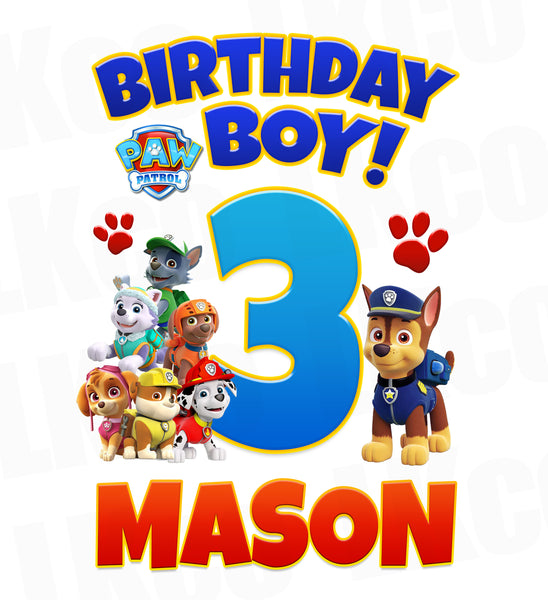 Paw Patrol Iron On Transfer - Birthday Boy - LuvibeeKidsCo