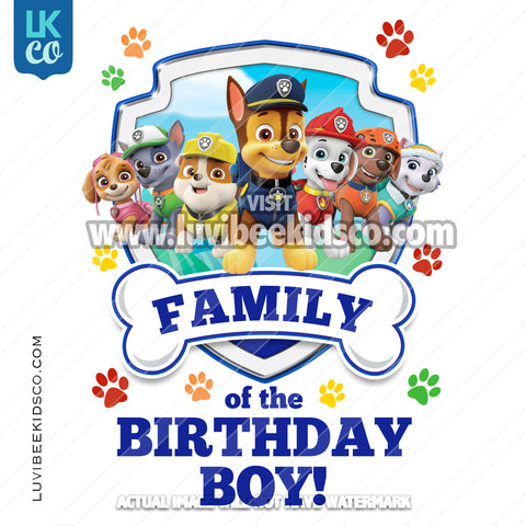 Paw Patrol - Blue - All Pups Family Member of the Birthday Boy - LuvibeeKidsCo