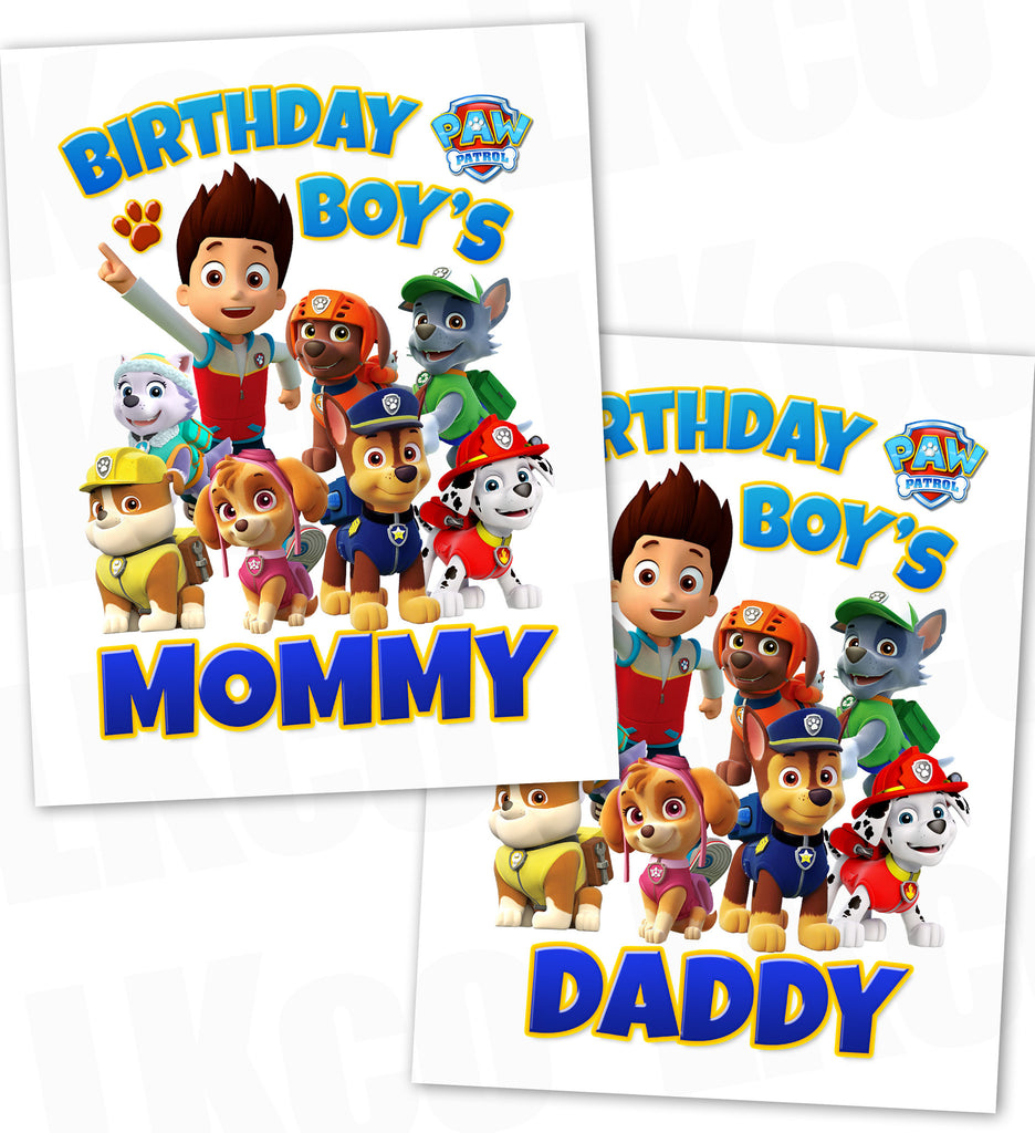 Paw Patrol Iron On Transfer - Blue | Birthday Boy's Mommy & Daddy Set
