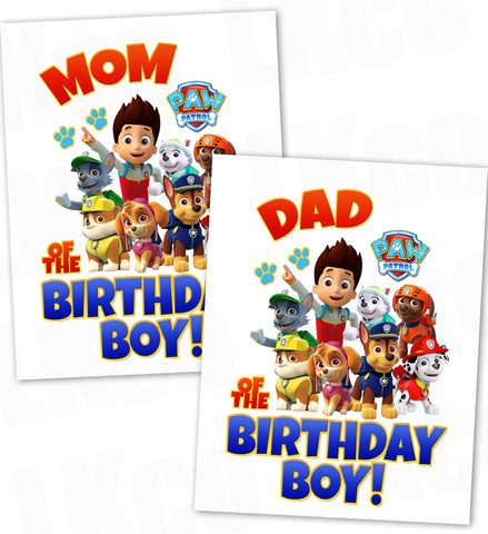 Paw Patrol Iron On Transfer - Red & Blue | Mom & Dad of the Birthday Boy Set