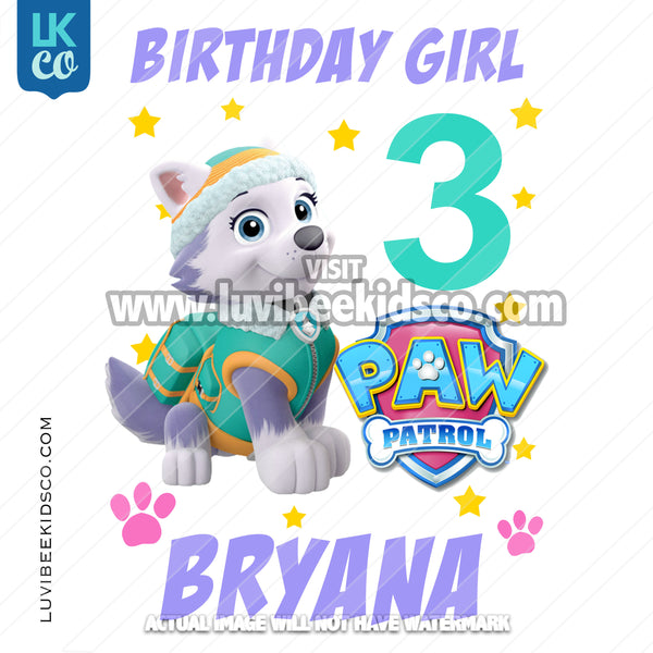 Paw Patrol Iron On Transfer - Everest Pup | Birthday Girl - Stars