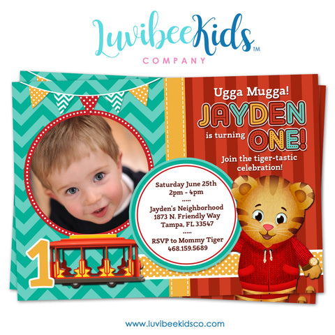 Daniel Tiger Invitation with Photo - Turquoise & Red Theme - Style #007