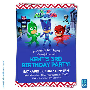 PJ Masks Invitation - Birthday Invitation for Boy or Girl