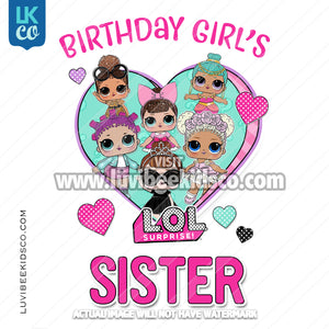 LOL Surprise Dolls Iron On Transfer Design - Birthday Girl's Sister - Pink - LuvibeeKidsCo
