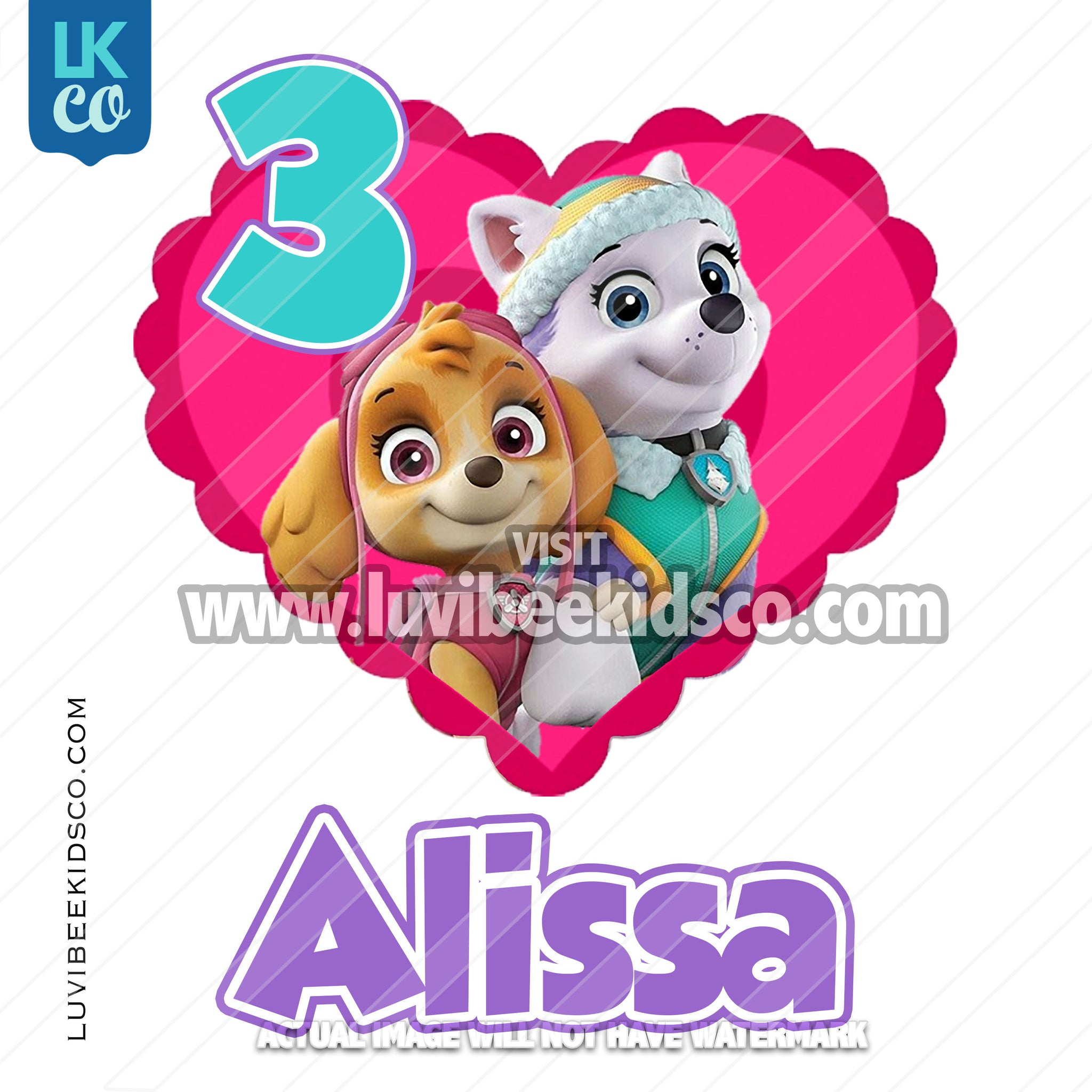 Paw Patrol Iron On Transfer - Pink Heart - LuvibeeKidsCo
