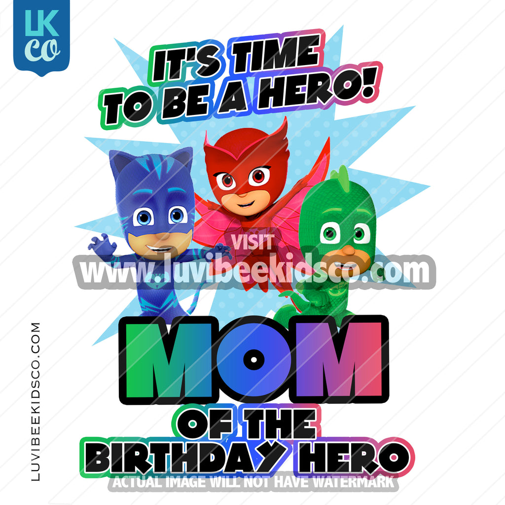 PJ Masks Iron On Transfer | Mom of the Birthday Hero