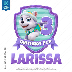 Paw Patrol Iron On Transfer | Everest Pup - Purple