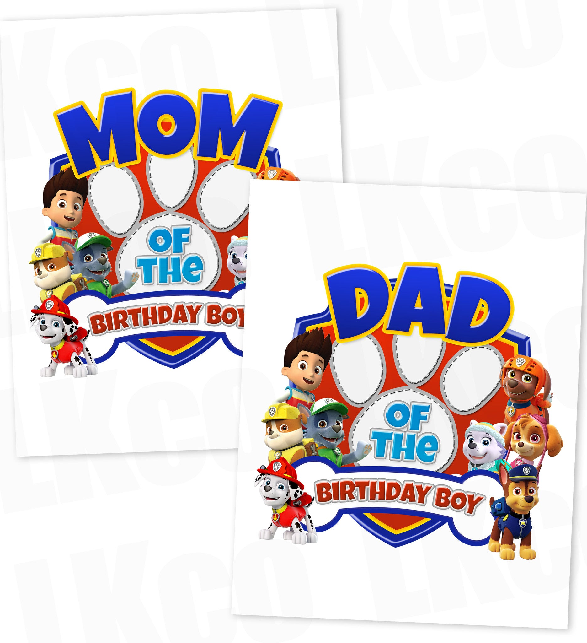 Paw Patrol Iron On Transfer | Paw Print | Dad & Mom Set
