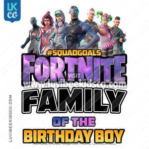 Fortnite Heat Transfer Design - Happy Birthday - Add Family Members - LuvibeeKidsCo