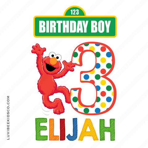 Sesame Street Iron On Birthday Shirt Design | Elmo Birthday Boy or Girl - LuvibeeKidsCo