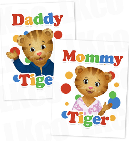Daniel Tiger Iron On Transfers Set for Mommy & Daddy | Birthday Style #02 - LuvibeeKidsCo