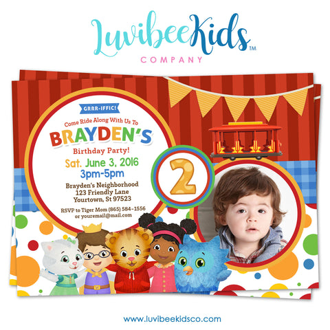 Daniel Tiger Invitation with Photo - Colorful Dots & Stripes - Style #005 - LuvibeeKidsCo