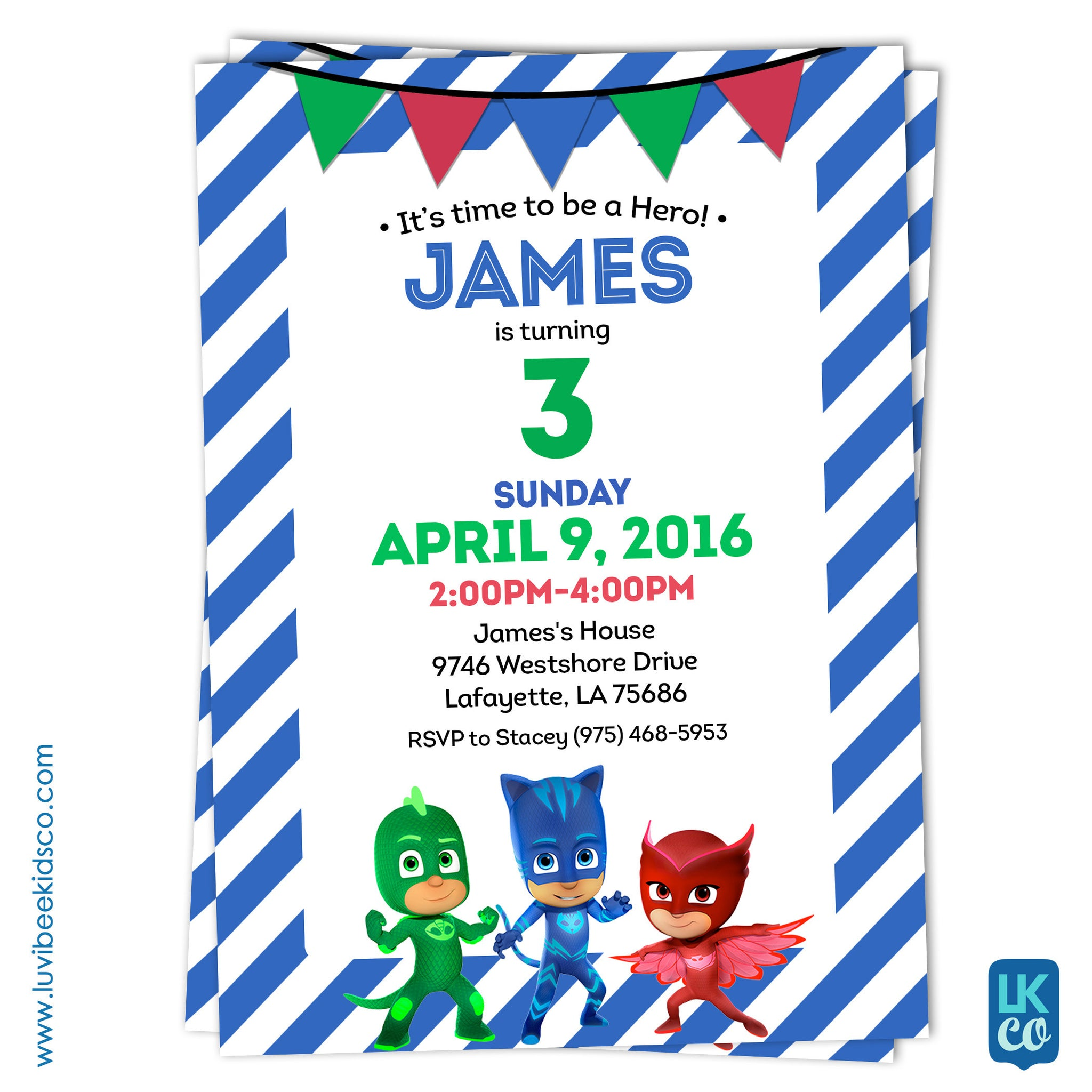 PJ Masks Birthday Invitation - LuvibeeKidsCo