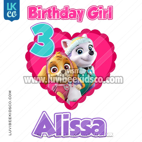 Paw Patrol Iron On Transfer - Pink Heart | Birthday Girl - LuvibeeKidsCo