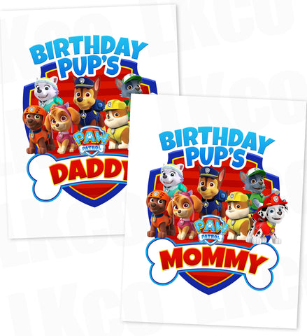 Paw Patrol Iron On Transfer - Bone | Birthday Pup's Daddy & Mommy Set