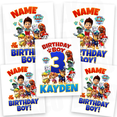 Paw Patrol Iron On Transfers Family Pack | Red & Blue Birthday Boy