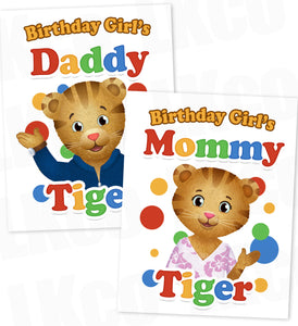 Daniel Tiger Iron On Transfers Set for Mommy & Daddy | Birthday Girl #04 - LuvibeeKidsCo