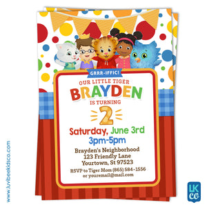 Daniel Tiger Invitation - Colorful Dots & Stripes - Style #004 - LuvibeeKidsCo