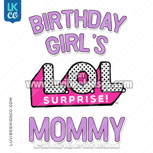 LOL Surprise Dolls Iron On Transfer Design - Birthday Girl's Mommy - Purple [LOGO ONLY] - LuvibeeKidsCo