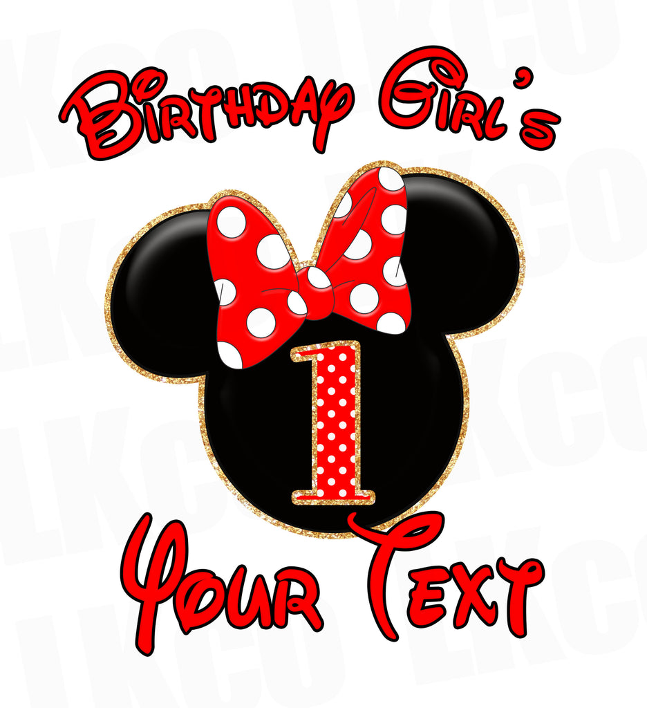 Minnie Mouse Iron On Transfer | Red & Black | Add A Family Member Name - LuvibeeKidsCo