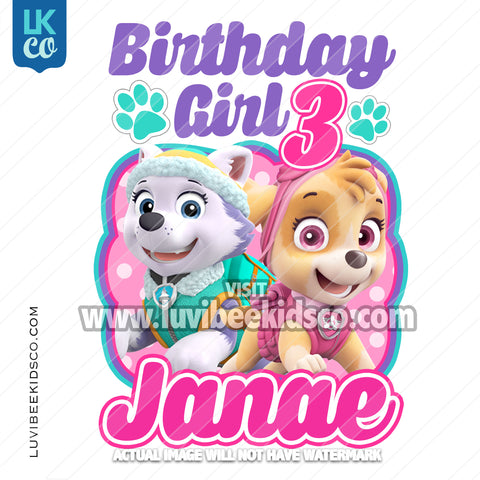 Paw Patrol Iron On Transfer - Skye & Everest | Birthday Girl - LuvibeeKidsCo