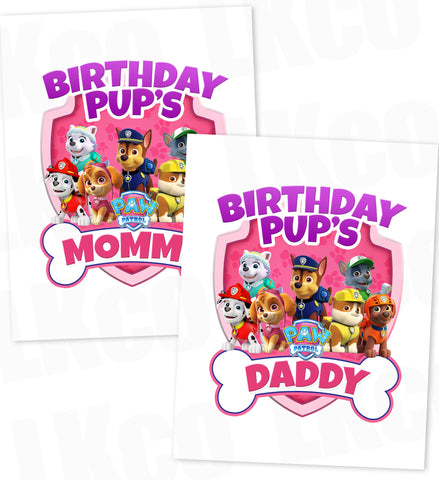 Paw Patrol Iron On Transfer - Pink Bone | Birthday Pup's Mommy & Daddy Set