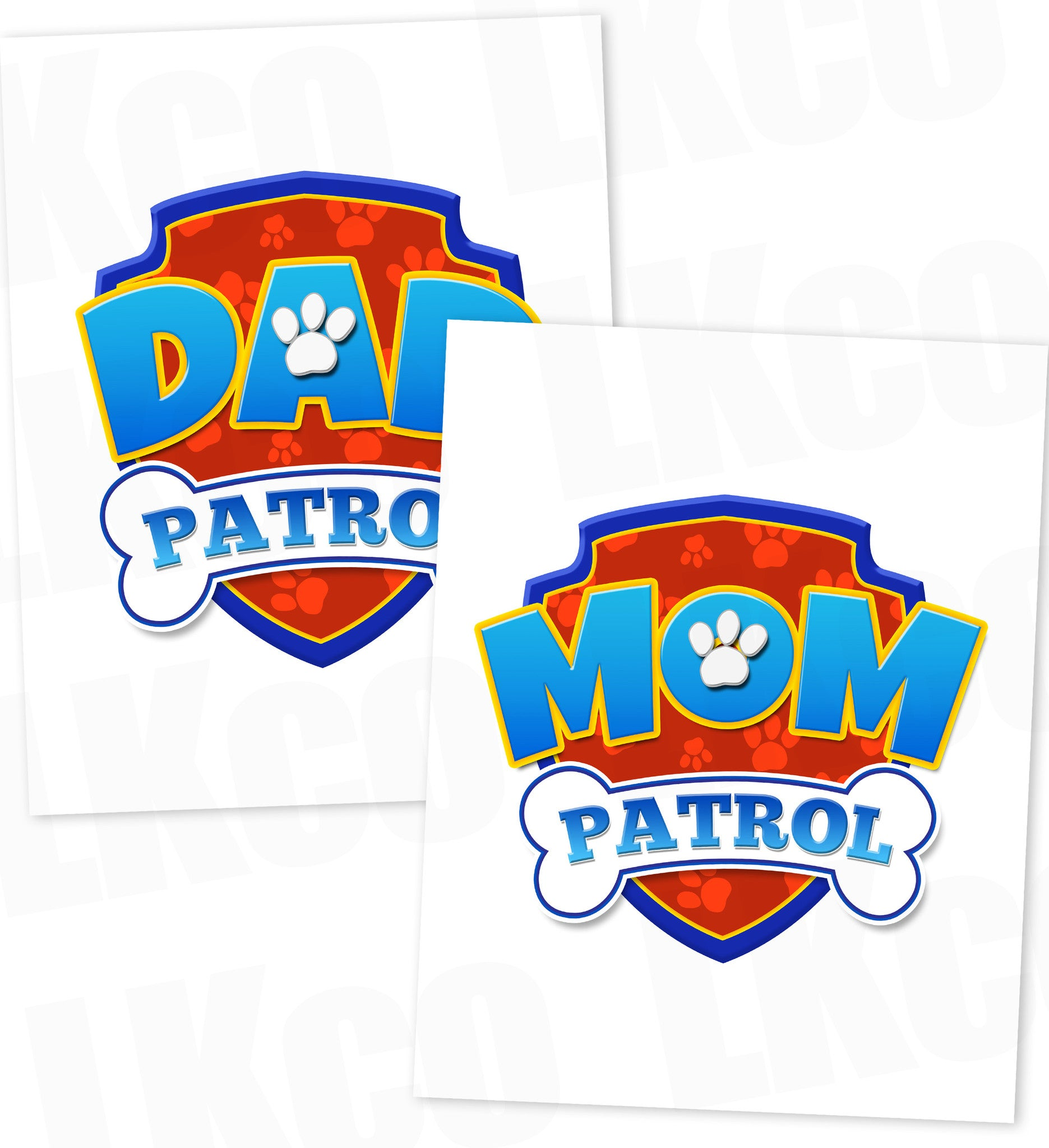 Paw Patrol Iron On Transfer - Patrol | Dad & Mom Patrol Set - LuvibeeKidsCo