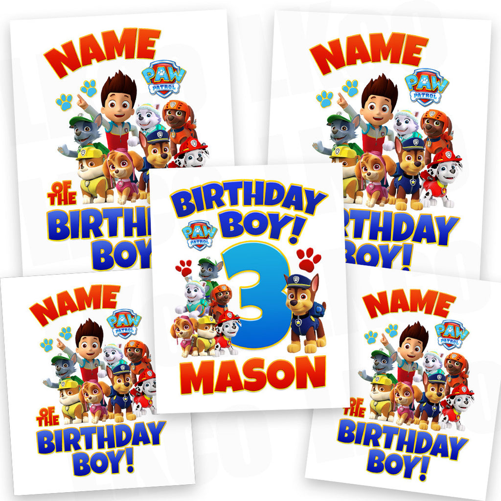 Paw Patrol Iron On Transfers Family Pack Birthday Boy Jpg 1024x1024 Shirt