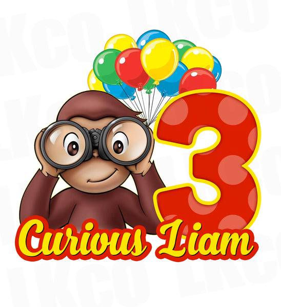 Curious George Iron On Transfer | Goggles & Balloons - LuvibeeKidsCo